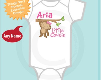 Personalized Little Cousin Girl Monkey Tee Shirt or Onesie with one cute Monkey (05152014f)
