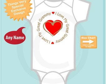 Personalized Unisex I Love My Great Grammy with Red Heart Tee Shirt or Onesie (07222014e)