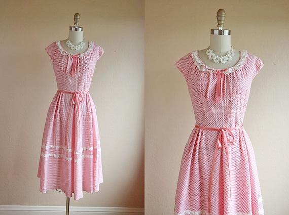 1940s Dress - Vintage 40s Sundress - Pink Gingham Cotton Dress S M - Easy like Sunday Morning