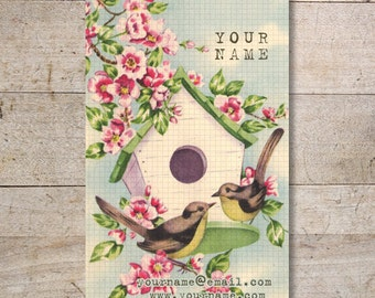 Business Cards - Custom Business Cards - Jewelry Cards - Earring Cards - Display Cards - Vintage Birds in Love - No. 47