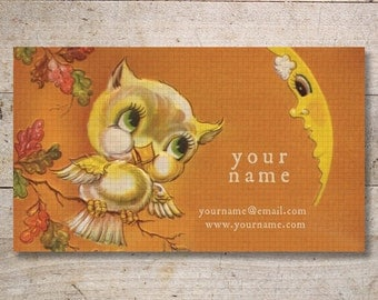 Business Cards - Custom Business Cards - Jewelry Cards - Earring Cards - Display Cards - Owl with Moon - No. 70