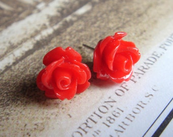 Romance Inspired, Tiny Rose Stud Earrings, Petite Earrings, Flower Earrings, Flower Jewelry, Handmade Keepsake Jewelry Gifts by HoneyNest