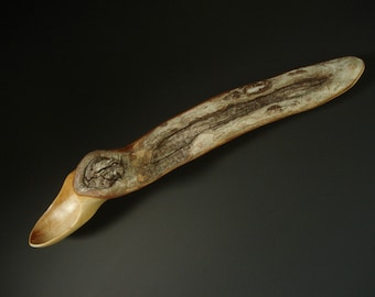SCAR with live edge wooden spoon hand carved by Spoontaneous, wood spoon, wood carving, art spoons, spoon, carved spoon, sculptural spoon