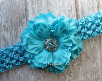Baby Headband, Turquoise Ruffled Peony Flower Headband, Crochet Headband, Newborn Headband, Toddler Headband, Girls Headband, Photo Prop