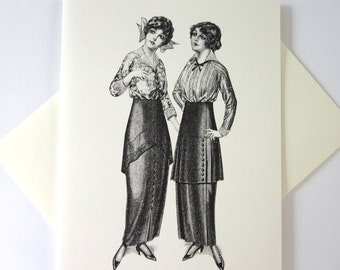 Victorian Ladies Cards Set of 10 in White or Light Ivory with Matching Envelopes