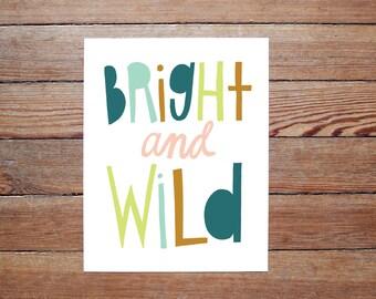 Bright and Wild - original Hand drawn Yellow Mint Green Illustration PRINT