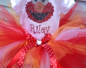 Sesame street tutu outfit-- Elmo- hand made rhinestone bling personalized tshirt or bodysuit plus matching tutu
