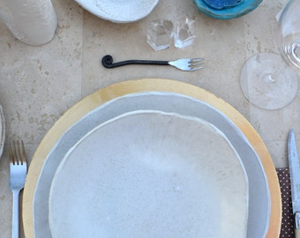 Personalized handmade white ceramic plates -set of 8- Wedding gifts Tableware Pasta BOWLS dinnerware dinner plates
