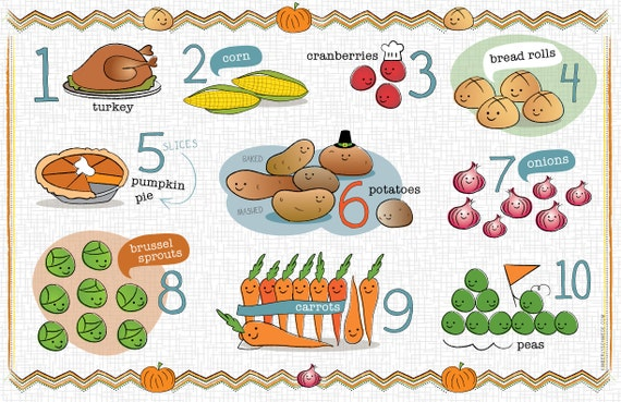 Kids Thanksgiving Placemat in English/Spanish/French 2-Sided