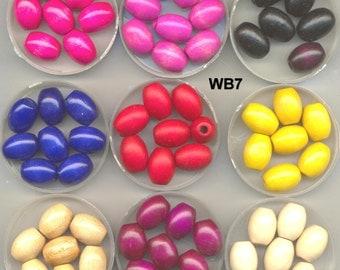 Wood Beads, Schowanek Vintage German Oval , Many Colors, WB7*