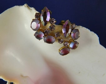 Vintage Beautiful West German Purple AB and Clear Rhinestone and Cathedral Bead Swag Clip Earrings, Stunning: Purple Swag