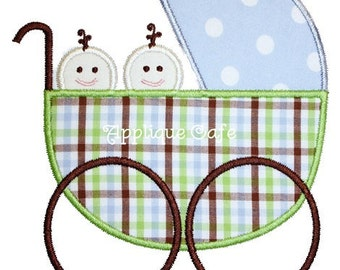 183 Baby Carriage Twins Machine Embroidery Design