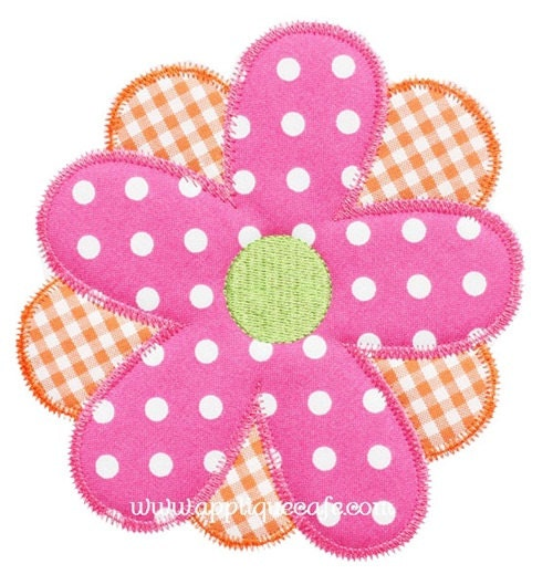Zig zag flower machine embroidery applique design