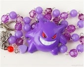 Pokemon Gengar Necklace, Purple Beaded Rosary Chain, Silver Plated - Street Fashion, Gamer Girl