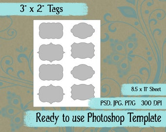 """Scrapbook Digital Collage Photoshop Template, 3"""" x 2"""" Tags"""