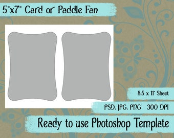 """Scrapbook Digital Collage Photoshop Template, A7 5"""" x 7"""" Rounded Card, Paddle Fan Template"""