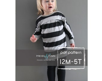 Tulip Tunic and Dress PDF pattern and tutorial 12m-5t easy sew tunic dress jumper