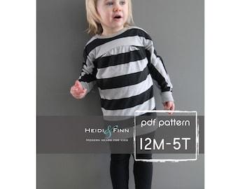 Tulip Tunika und Kleid PDF Muster und Tutorial 12m-5 t einfach nähen Tunika Kleid jumper