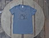 SALE CLEARANCE Drum Set T-Shirt American Apparel Asphalt  Grey Tee for women