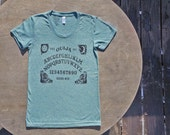 Ouija Board Vintage Style T-Shirt American Apparel Women's Tee in Teal Mint Green