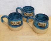 Personalised mug custom made wheelthrown stoneware