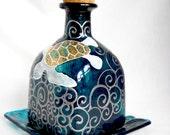 Sea Turtle Glass Art Decanter Hand Painted Patron Bottle