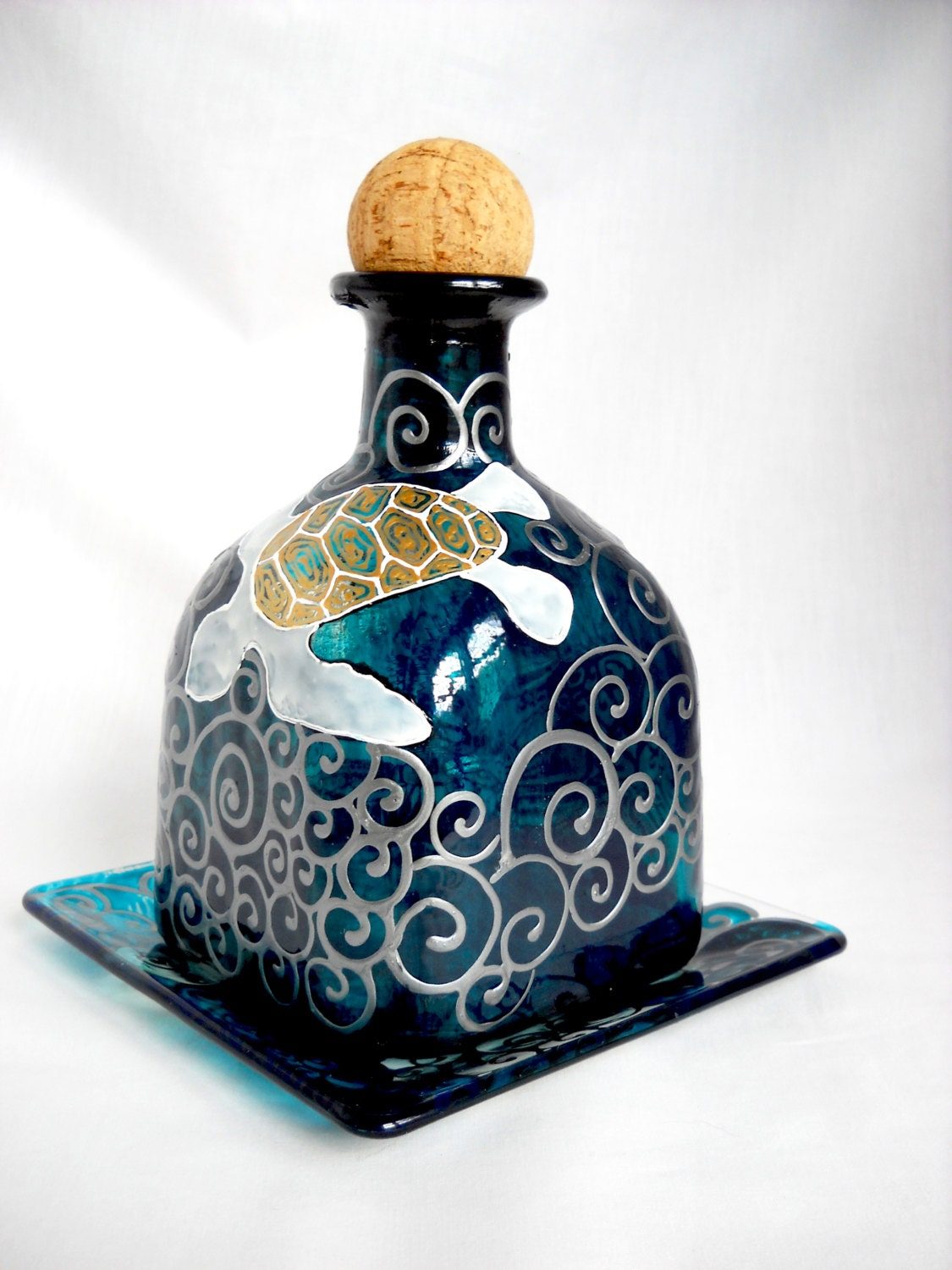 Sea turtle glass art decanter hand painted by skyspiritstudios for Hand painted glass bottles
