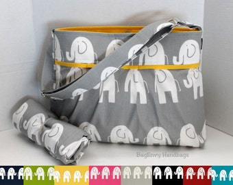 Monterey Diaper Bag Set - Medium - Grey Marching Elephants Yellow - Or Design Your Own - Adjustable Strap And Elastic Pockets