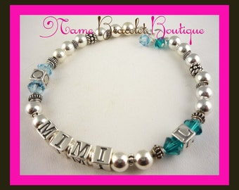 Grandma Bracelet - Grandchildren's initial/ family bracelet for Mom/ Nana. Birthstone crystals in any colors and sizes- great gift