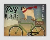 PUG BICYCLE CO. Free Customization Graphic Art Stretched Canvas Ready-To-Hang