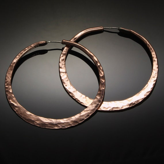 Extra Large Copper Gypsy Hoops  // 2 inch Hammered Copper Statement Hoop Earrings