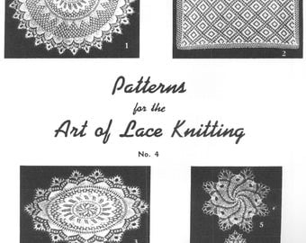 The Art Of Lace Knitting Patterns #4 Center Piece Doilies PDF Instant Download