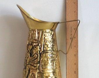 Brass Pitcher Made in England 'Z' Pub Scene, Brass Pitcher, Water Jug