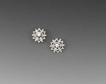 Snowflake Sterling Silver Post Earrings with Cubic Zirconia