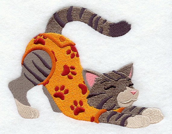 TABBY IN PJS - Machine Embroidered Quilt Blocks(AzEB)