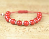 SALE-Coral and sterling silver  bracelet