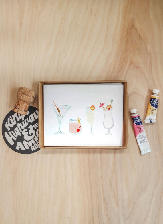 Greeting Card Stationery Set: Cheers set of 6 illustrated cocktail note cards *SALE - 50% OFF*
