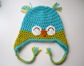 Aqua Blue and Bright Green Happy Owl Crochet Hat - 12 to 24 months