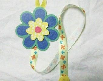 blue yellow green red flower barrette bow hair accessories holder storage organizer handmade