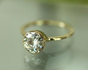 7mm Forever Brilliant Moissanite 14K Gold Engagement Ring, Stacking Ring - Made To Order
