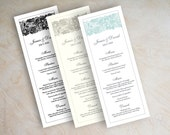 Lace wedding menu, wedding reception menu, printable menu card, mint green, black and white, gray, formal, Jessica