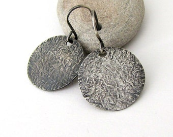 Silver Disc Earrings Hammered Silver Earrings Rustic Circle Earrings Textured Silver Earrings Minimalist Jewelry Gift for Her- Lost Series