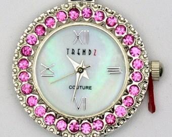 Austrian Crystals Watch Face | Crystal Watch Face | Pink Watch Face | Round Watch Face | Mother of Pearl Watch Face | Watch Face - WF00010