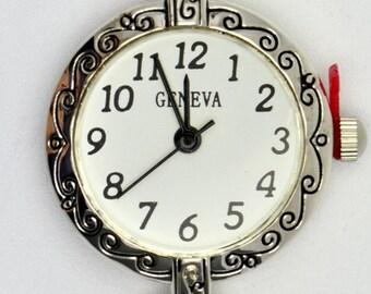 White Watch Face | Round Watch Face | Wrist Watch Face | Silver Watch Face | Ladies Watch Face | Beading Watch Face | Watch Face - WF00093