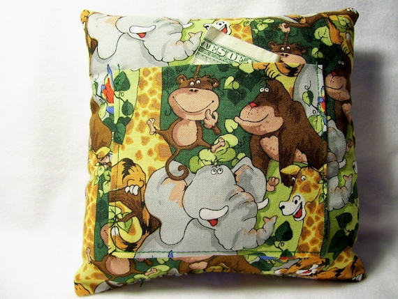 Zoo Animal Pillows : Items similar to SALE Tooth Fairy Pillow Handmade Zoo Animals Handmade elephant giraffe monkey ...