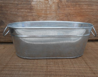 """2 Oval Galvanized Tubs With Handles, Buckets, 8"""" x 4"""" x 3"""",  Rustic, Great For Barn Weddings, Planting Succulents, Containers"""