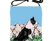 Border Collie leather sling bag