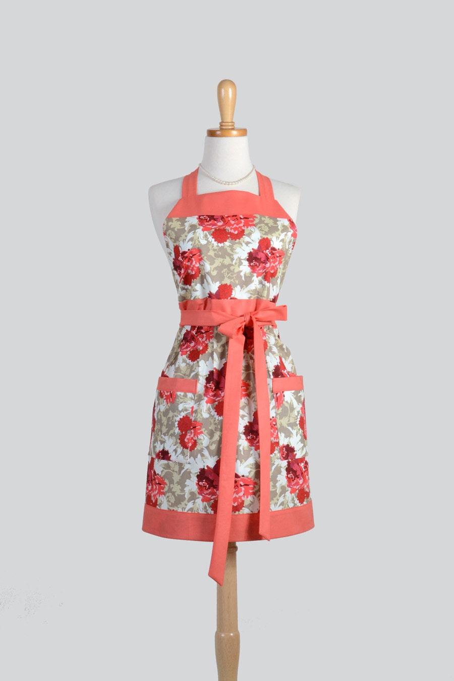 full bib womens apron vintage aprons style verona coral and. Black Bedroom Furniture Sets. Home Design Ideas