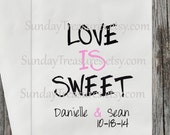 12pc Love Is Sweet WEDDING Candy Buffet Party Favor Bags / Engagement Bridal PERSONALIZED / CUSTOM / Table Decor/ Engagement 3 Day Ship