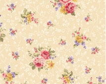 Kilala Antique Roses QMS30752-13b cotton Fabric by  QH Textiles  Pink Roses on ivory